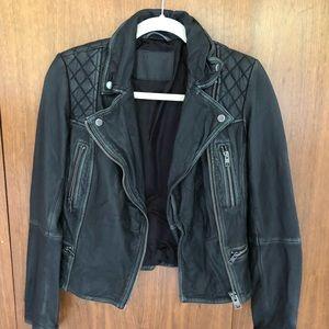 All Saints Distressed Black Leather Biker Jacket
